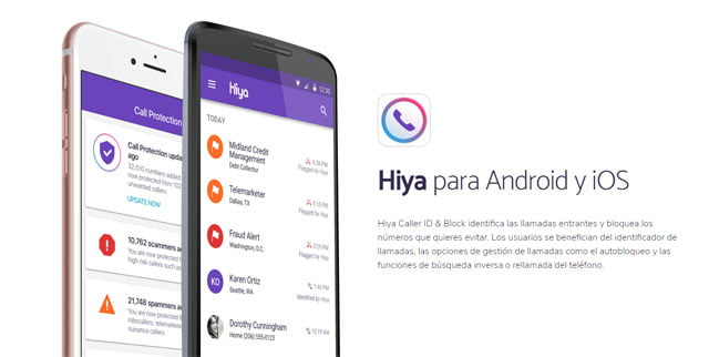 Hiya para Android y Apple iOS