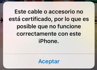 cable incompatible con Apple