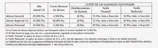 tarifas de MoviLine en 1993