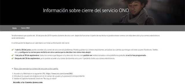 cierre del correo electrónico usuario@ono.com