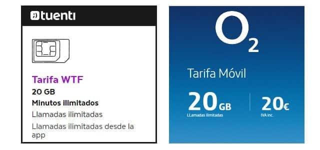 tarifas móviles de O2 España vs Tuenti
