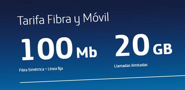 tarifa fibra y móvil de O2