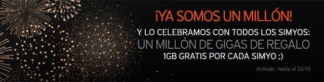 Simyo supera el millón de clientes y regala 1GB gratis