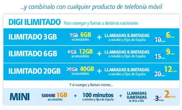 tarifas fibra Digi con tarifas móviles nacionales