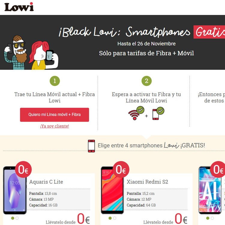 oferta del Black Friday de Lowi