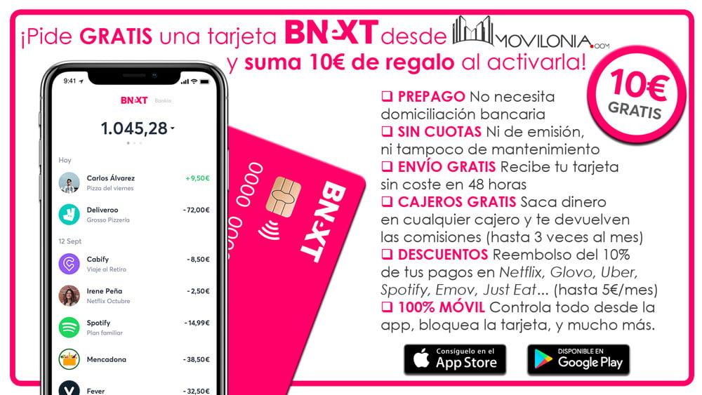 ventajas de la tarjeta Bnext y Movilonia.com