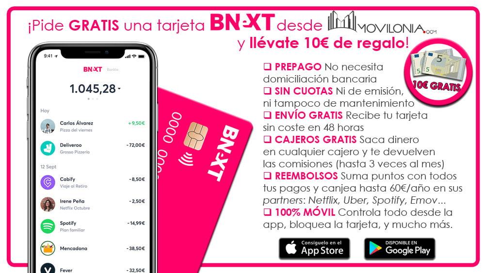 10 euros gratis pidiendo la tarjeta Bnext