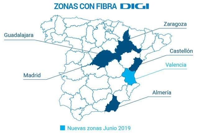 provincias con cobertura de fibra de Digi