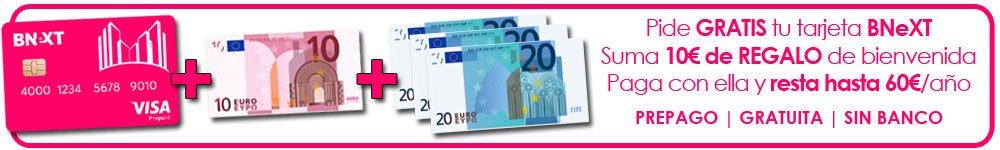 oferta de 10 euros gratis por pedir tarjeta Bnext