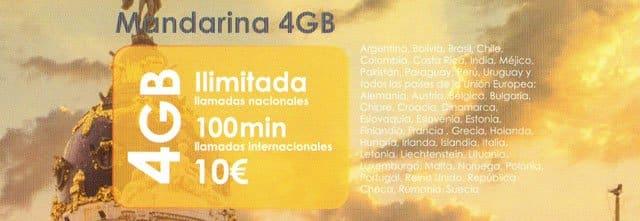 tarifa Mandarina 4GB de You Mobile