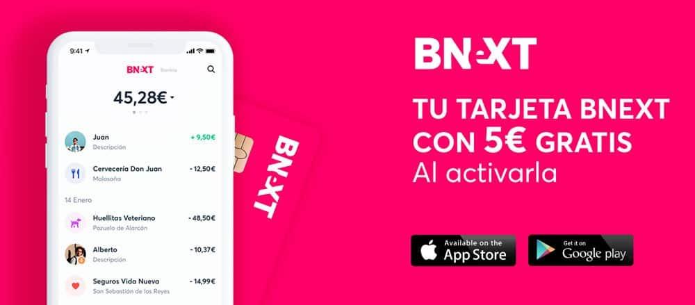 5€ de regalo al activar la tarjeta Visa BNeXT