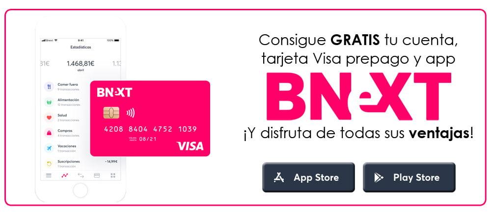 cuenta, tarjeta Visa prepago y app BNeXT