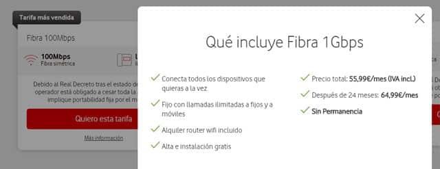 qué incluye la fibra de Vodafone sin permanencia