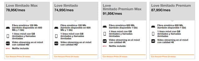 tarifas Orange Love con datos ilimitados