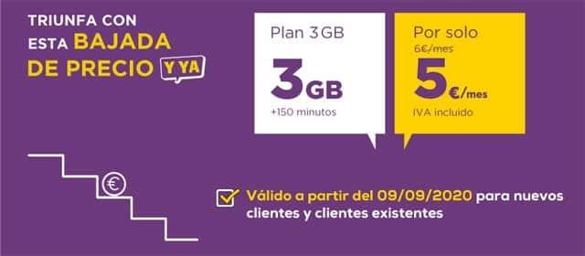contrato Llamaya 3GB y 150 minutos por 5 euros
