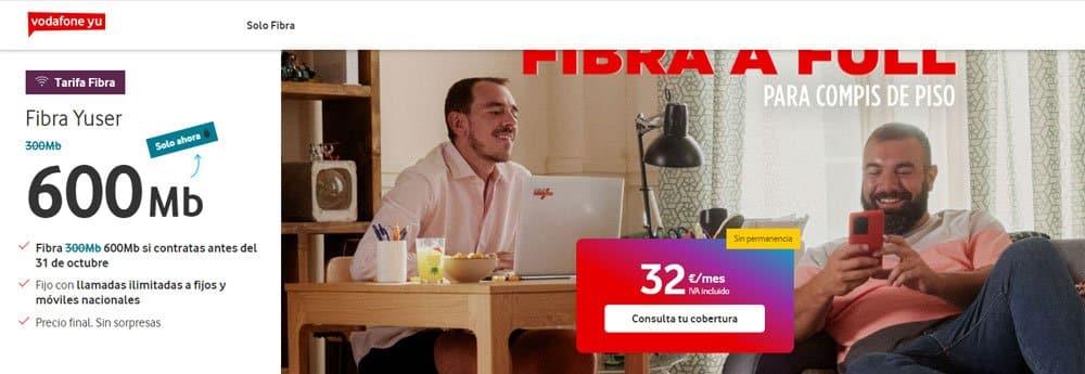tarifa de solo fibra de Vodafone Yu