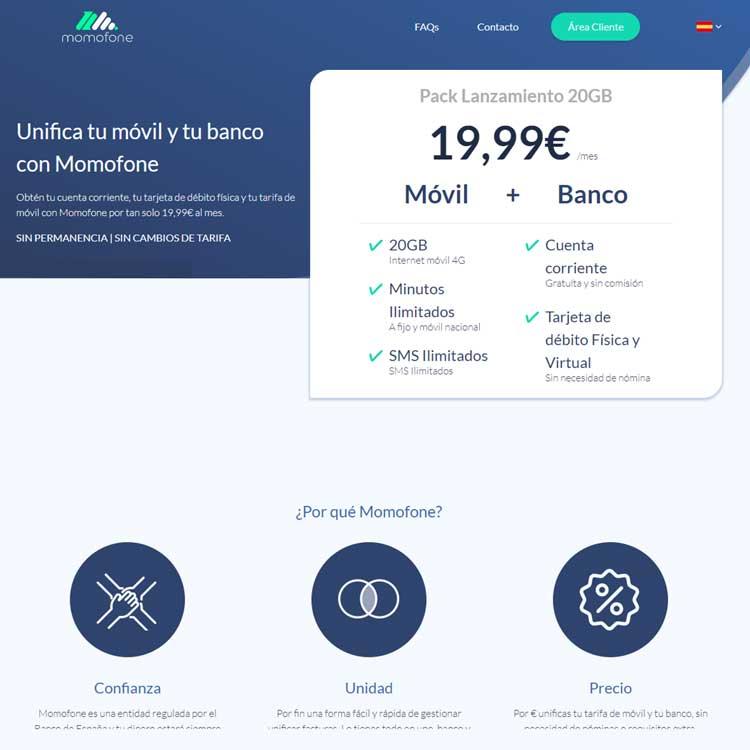 Momofone: banco móvil y tarifa de telefonía