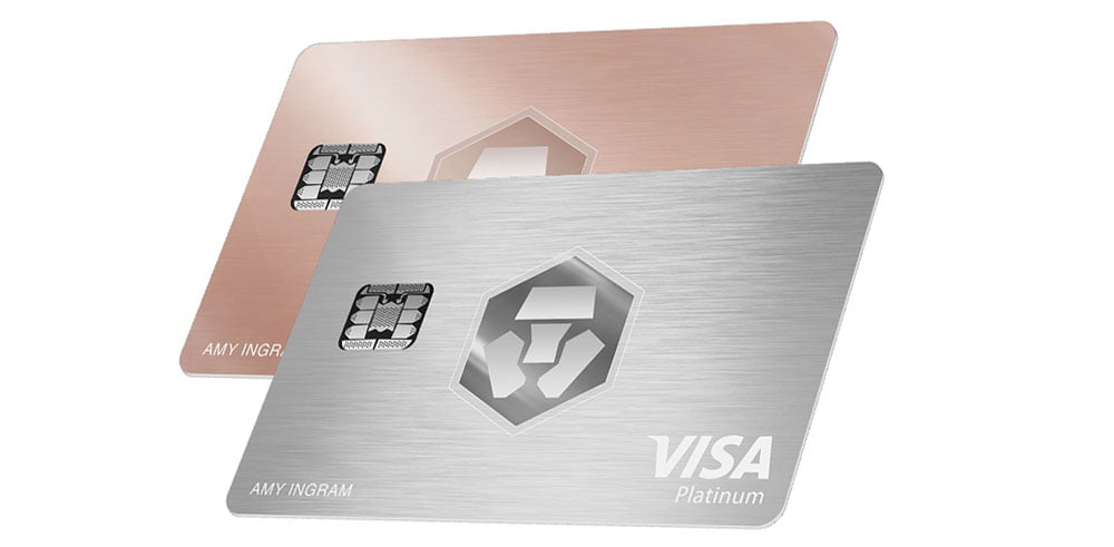 Visa Crypto.com de color rosa o plata