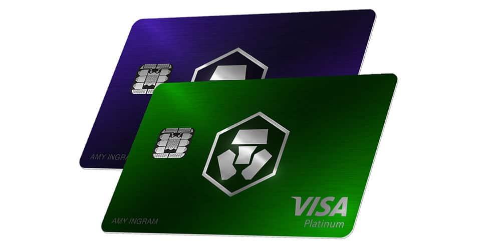 Visa Crypto.com de color morado o verde