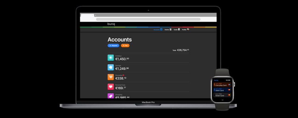 cuenta Bunq en el smartphone, ordenador y Apple Watch