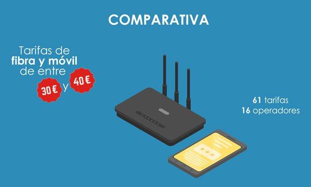 tarifas de fibra y móvil de entre 30 y 40 euros al mes