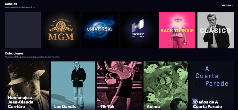 canales y colecciones de Filmin