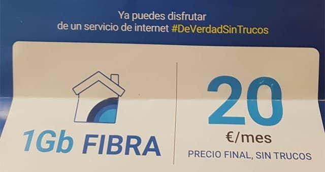 fibra DIGI de 1Gbps por 20€ al mes