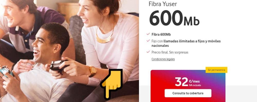 fibra Yuser de 600Mbps por 32€ al mes