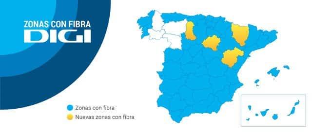 provincias con cobertura de fibra óptica de DIGI en España