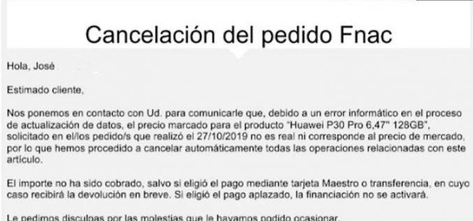 Condenan a Fnac a vender más de 18.000 Huawei P30 Pro a 140 euros por unidad