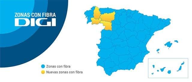 cobertura de fibra óptica de Digi en España