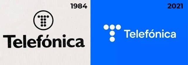 logotipos de Telefónica de 1984 y 20211