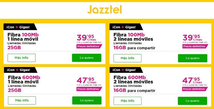 mejora de tarifas de Jazztel