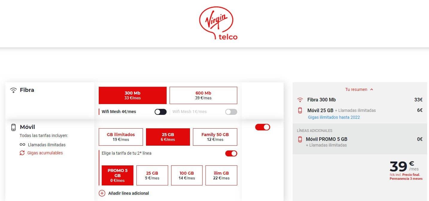 oferta línea gratis con Virgin Telco