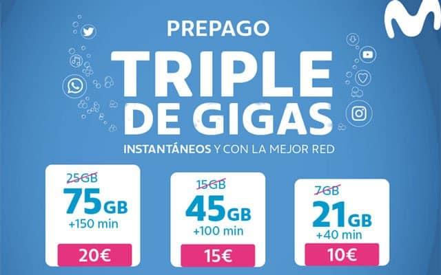 oferta del triple de GB de Movistar prepago