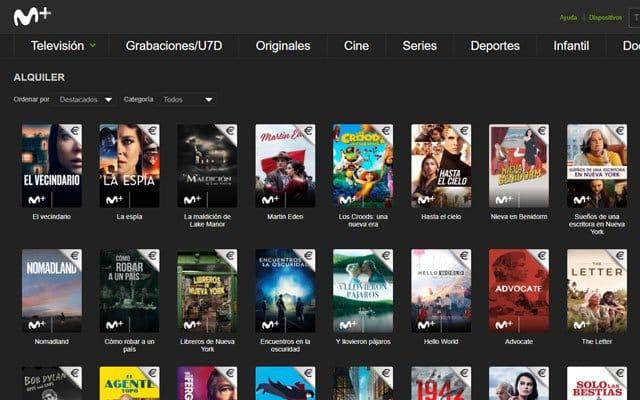 alquiler de películas de estreno en Movistar+
