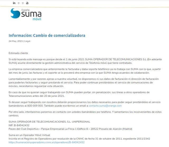 comunicado de Suma sobre el cierre del OMV Oniti