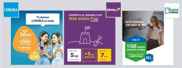 ofertas de verano de 2021 de las tarifas prepago de Llamaya, Lycamobile y Lebara