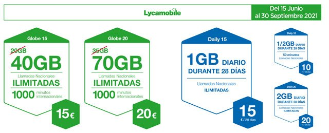 ofertas de verano de 2021 de las tarifas prepago de Lycamobile