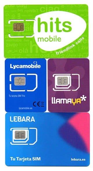 tarjetas SIM de Lebara, Lycamobile, Llamaya y Hits Mobile