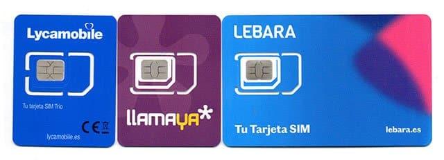 tarjetas SIM de Lebara, Lycamobile y Llamaya