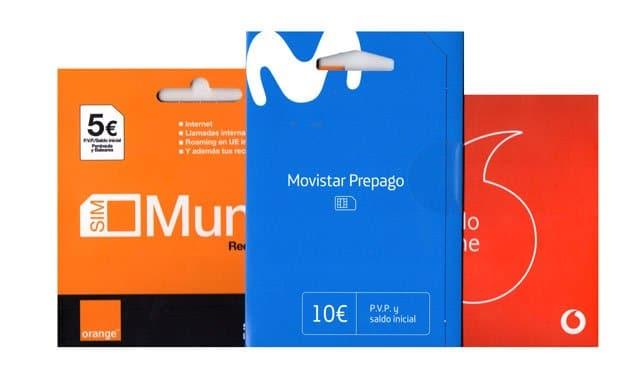 tarjetas SIM prepago de Movistar, Orange y Vodafone