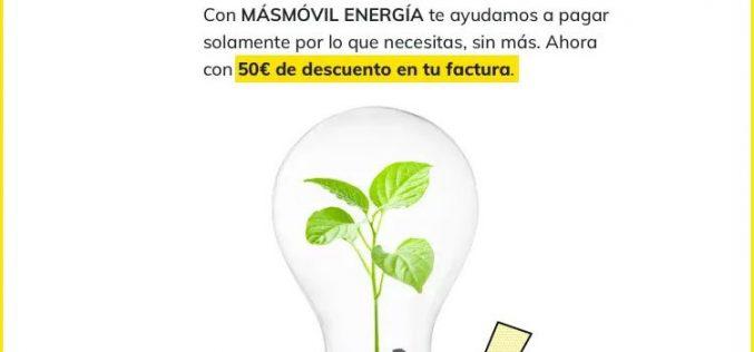 Masmóvil Energía mejora su descuento de 50 euros de bienvenida