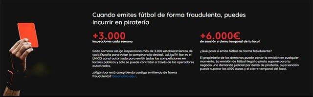 piratería del fútbol en bares