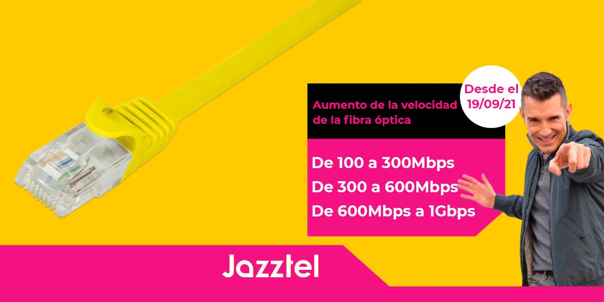 El aumento de velocidad de la fibra óptica de Jazztel se