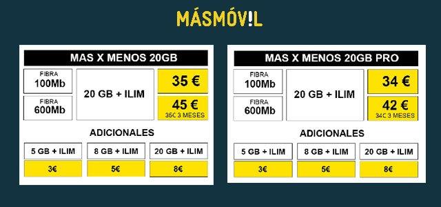 tarifa secreta Más x menos de Masmóvil